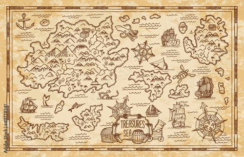 Fotografía Old treasure map of pirate vector sketch with islands of Caribbean Sea, vintage nautical compass, pirate ships