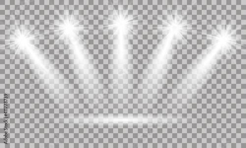 Fotografie, Obraz Spotlight on stage. Volume light on transparent background.
