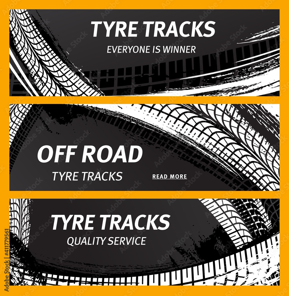 Fototapeta Tire prints, car tyre tracks with grunge stained vector marks and spots. Transportation dirty wheels trace, auto service or bike race, vehicle monochrome pattern, graphic textured design banners set