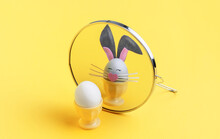 Easter Concept. The Egg In Front Of The Mirror Sees Itself As An Easter Bunny
