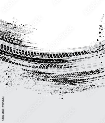 Obraz na plátně Tire tracks, motorcycle bike wheels or car tread marks, vector grunge