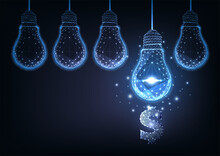 Futuristic Financial Business Ideas Concept With Glowing Low Polygonal Hanging Lightbulbs And Dollar