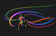 Athlete Disabled Amputee Runner Silhouette Vector Eps10