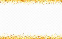 Gold Dust Glamour Transparent Background. Bright Shine Banner. Golden Dot Modern Illustration. Rain Holiday Texture.