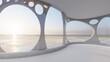 Leinwandbild Motiv Architecture interior background room with sea view 3d render