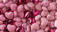 Multicolored Heart Background. Valentine Wallpaper With Pink, White And Metallic Love Hearts. 3D Render