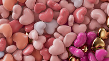 Multicolored Heart Background. Valentine Wallpaper With Pink, Orange And Gold Love Hearts. 3D Render