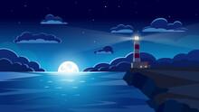 Lighthouse On Seashore, Night, Night Sky. Vector Illustration