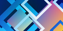 Blue And Orange Pink Yellow Squares Abstract Geometric Banner Design. Technology Vector Background