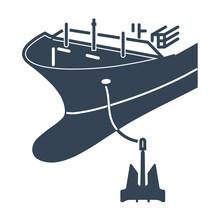 Vector Black Icon Anchored Ship, Boat