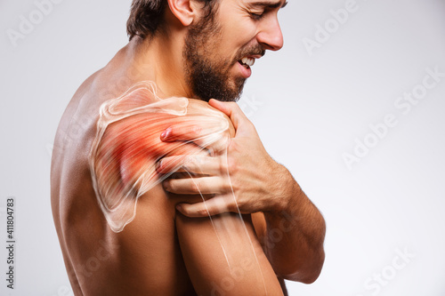 Carta da parati Shoulder muscle and nerve pain, man holding painful zone injured point, human bo