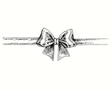 Hand Drawn Classic  Bow With Ribbon, Top View. Ink Black And White Drawing. Vector Illustration