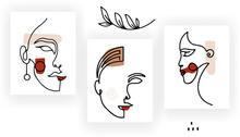 Woman Faces Continuous One Line Drawing Style. Modern Trendy Minimal Portrait. Simple Femenine Chick Portrait
