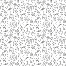 Cute Easter Doodle Seamless Pattern With Bunny, Basket, Easter Eggs, Cakes, Chicken, Willow Twigs And Candles. Vector Hand Drawn Illustration On White Background