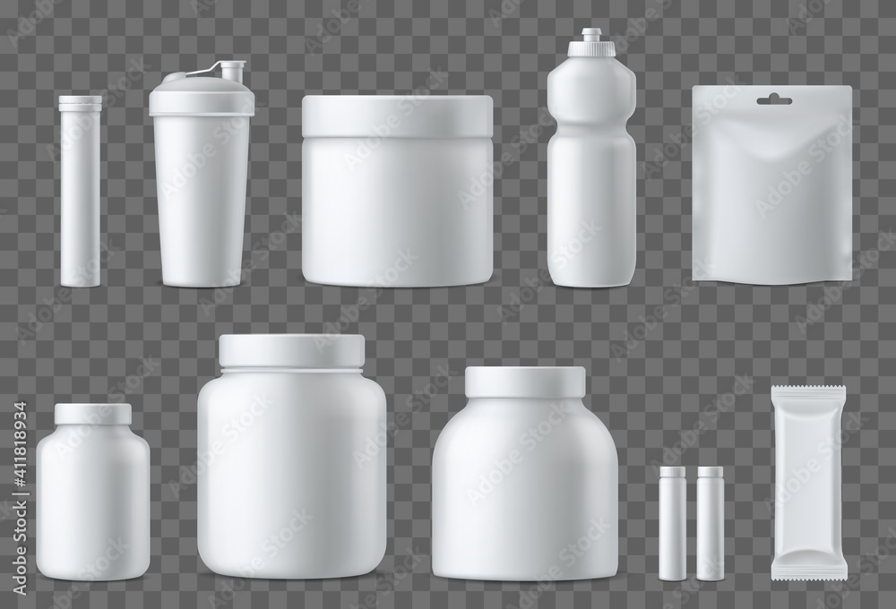 Fototapeta Sport nutrition containers. Realistic blank white plastic packaging mockups collection. Superfood, whey protein powder, vitamins and energy drinks. Sports supplements. Vector 3d set