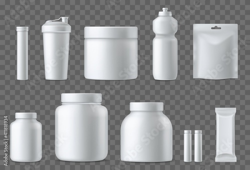 Sport nutrition containers. Realistic blank white plastic packaging mockups collection. Superfood, whey protein powder, vitamins and energy drinks. Sports supplements. Vector 3d set © YummyBuum
