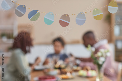 Background image of Easter decorations shaped as Easter eggs with blurred Africa Wallpaper Mural