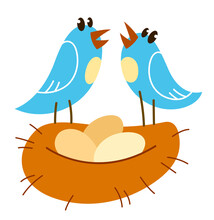 Little Cute Bird Nesting Funny Cartoon Flat Vector Illustration Isolated On White, Family And Kids Concept.