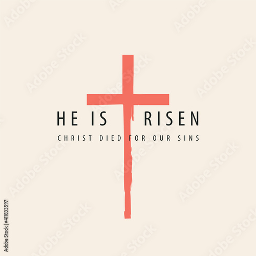 Obraz na płótnie Vector banner or greeting card on the Easter theme with words He is risen, Christ died for our sins