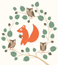 Cute Woodland Animals. Squirrel, Wreath Of Branches Walnut With Owls In Childish Cartoon Style. Vector Illustration For Children's Greeting Card, Poster, Print On Fabric.