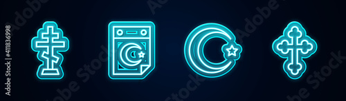 Obraz Set line Christian cross, Star and crescent, and . Glowing neon icon. Vector. - fototapety do salonu