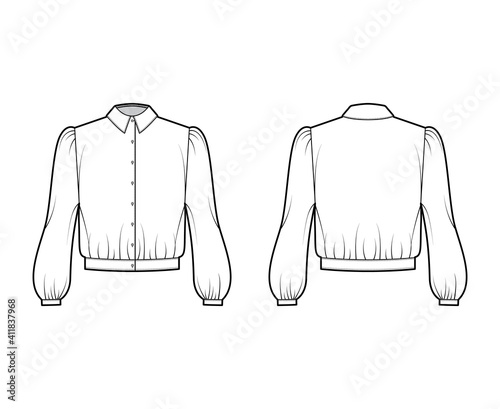 Obraz Blouson blouse technical fashion illustration with bouffant long sleeves, classic shirt neck, oversized, button up. Flat apparel top template front, back, white color. Women, men unisex CAD mockup - fototapety do salonu