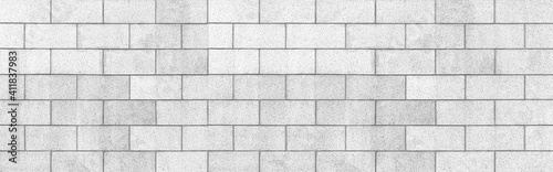 Photo Panorama of White cement block fence texture and seamless background