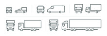 Set Of Transport Icons, Line Silhouette Front And Side View, Delivery Transport