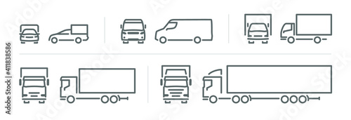 Obraz Set of transport icons, line silhouette front and side view, delivery transport  - fototapety do salonu