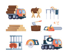 Wooden Industry. Lumber Axe Sawmill Timber Forestry Production Woodcutter Collections Garish Vector Flat Pictures Set. Illustration Timber Industry, Logging Trunk, Wooden And Woodworking