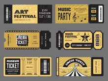 Event Tickets. Entrance Entertainment Tickets To Theatre Cinema Kids Party Soccer Music Concert Recent Vector Design Templates Collection. Illustration Entertainment Event Ticket, Concert Admission