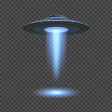 Blue Ufo Lights. Aliens Spaceship Spotlight, 3d Space Object Isolated On Transparent Background. Flying Rays, Futuristic Ship Vector Element. Illustration Ufo Spotlight, Alien Spaceship