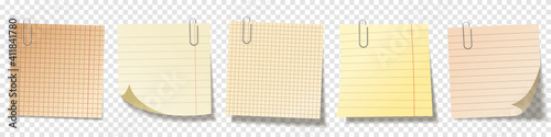 Obraz Realistic blank sticky notes. Sheets of note papers. Paper reminder. Vector illustration. - fototapety do salonu