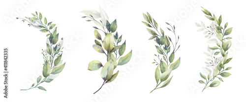 Cuadros en Lienzo Watercolor floral illustration set - green leaf branches bouquets collection, for wedding stationary, greetings, wallpapers, fashion, background