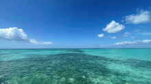 Ocean Or Sea Calm Water Surface Under A Blue Sky With A Few Clouds. View On The Shore With A Beach And Tropical Trees. Vacation Resort Paradise In Summer Time