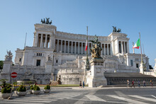 Panoramic Front View Of Museum The Vittorio Emanuele II Monument (Vittoriano)