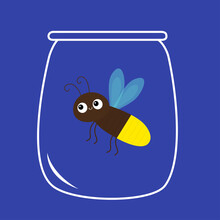 Firefly Jar. Beetle Bug. Insect Animal. Cartoon Kawaii Funny Smiling Baby Character. Brown Color. Shining Yellow Light Bulb. Blue Background. Flat Design.