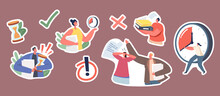 Set Of Stickers Urgent Work. Stressed Business Characters With Much Paperwork, Woman With Alarm Clock, Man With Docs