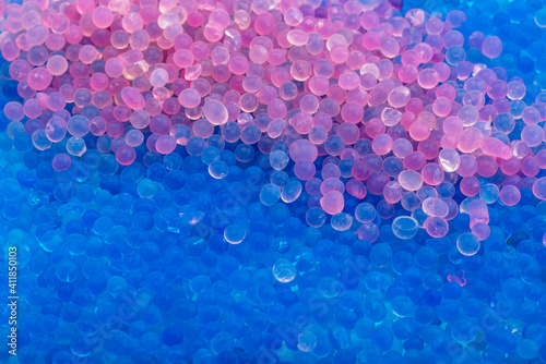 Canvas Print Close up of Blue and pink silica gel , Can be used as a background