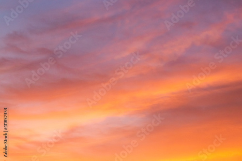 Fototapety, obrazy: Beautiful color light sky with cloud background from sunset