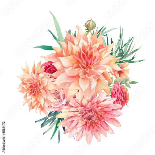 Watercolor flowers garden bouquet Fototapet
