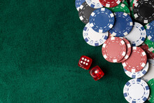 Colorful Poker Chips On Green Table. Gambling Concept, Background