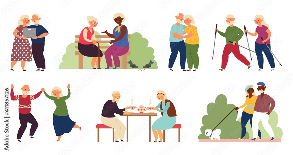 Fototapeta Happy elderly activity. Isolated senior people, sporting old couple. Active grandparents, healthy decent lifestyle on retirement vector set. Couple character grandmother and grandfather active