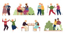 Happy Elderly Activity. Isolated Senior People, Sporting Old Couple. Active Grandparents, Healthy Decent Lifestyle On Retirement Vector Set. Couple Character Grandmother And Grandfather Active