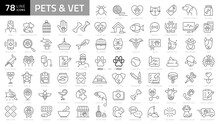 Pet, Vet, Pet Shop, Types Of Pets - Minimal Thin Line Web Icon Set. Outline Icons Collection. Simple Vector Illustration