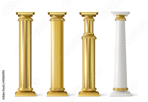Fotografija Antique gold pillars set. Ancient golden columns