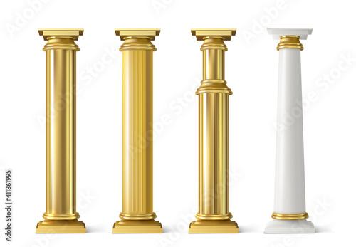 Fotografiet Antique gold pillars set. Ancient golden columns