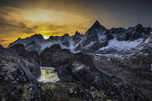Mountain Landscape View Of Mt Stortinden And Mt Stjerntinden,  Flakstad, Lofoten, Nordland, Norway
