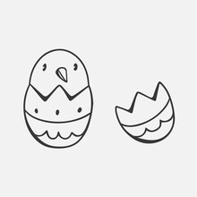 Cute Vector Chicken In Egg In Doodle Style Isolated On White Background. Vector Doodle Illustration. Doodle Character For Easter.