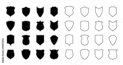 Fototapeta Shield police. Police badge and crest. Outline shape of shield for coat. Logo for arms, security, soccer and army. Emblem of football club. Icon with silhouette for heraldic military label. Vector obraz